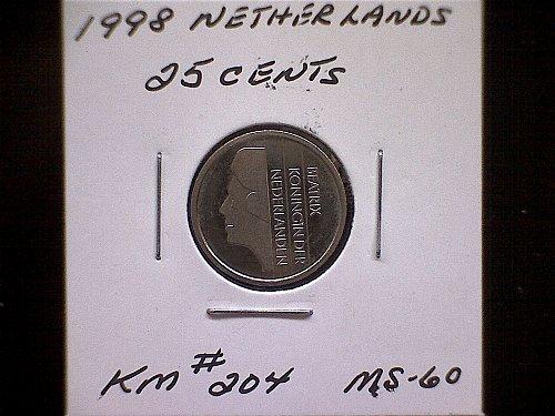 1998 NETHERLANDS TWENTY-FIVE CENTS