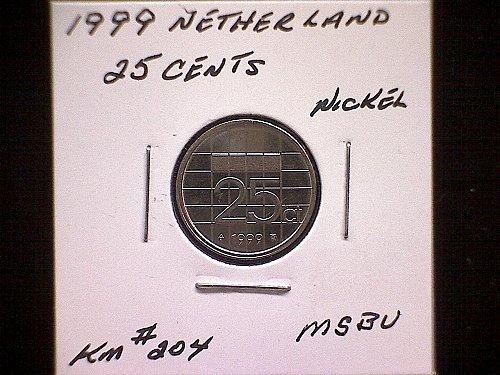 1999 NETHERLANDS TWENTY-FIVE CENTS