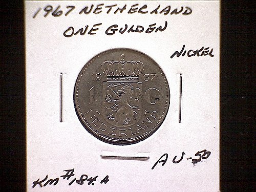 1967 NETHERLANDS ONE GULDEN