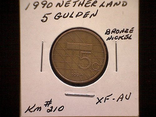 1990 NETHERLANDS FIVE GULDEN