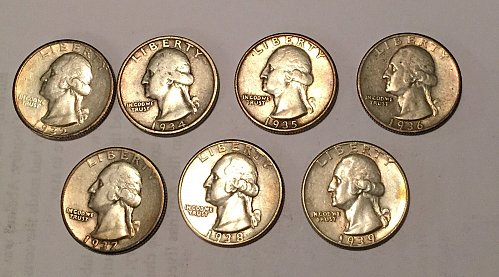 Lot of 7 Washington Quarters 1932, 1934-1939 (90% silver)