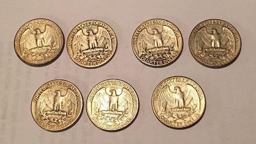 Lot of 7 Washington Quarters 1932, 1934-1939 (90% silver)