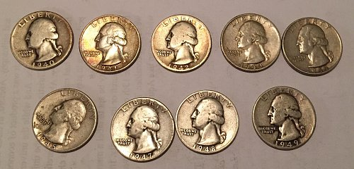 Lot of 9 Washington Quarters 1940-1945, 1947-1949 (90% silver)