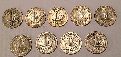 Lot of 9 Washington Quarters 1940-1945, 1947-1949 (90% silver)