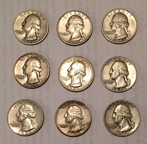Lot of 9 Washington Quarters 1950-1952, 1954-1959 (90% silver)