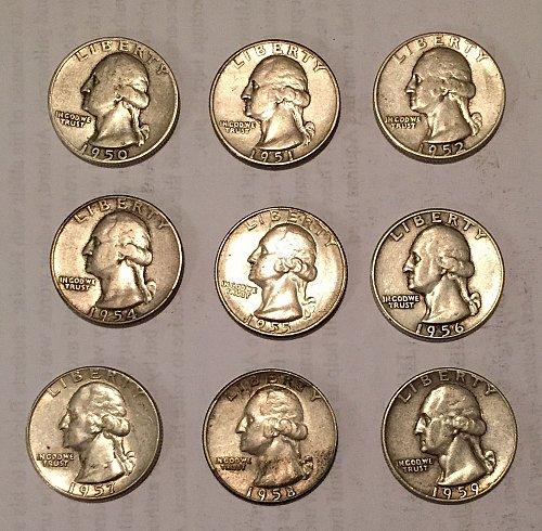 Lot of 9 Washington Quarters 1950-1952, 1954-1959 (90% silver)