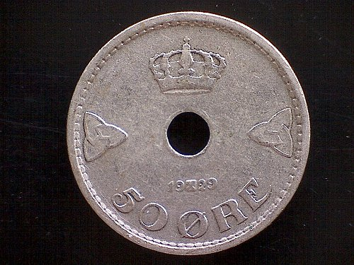 1929 NORWAY FIFTY ORE