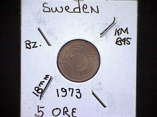 1973 SWEDEN FIVE ORE