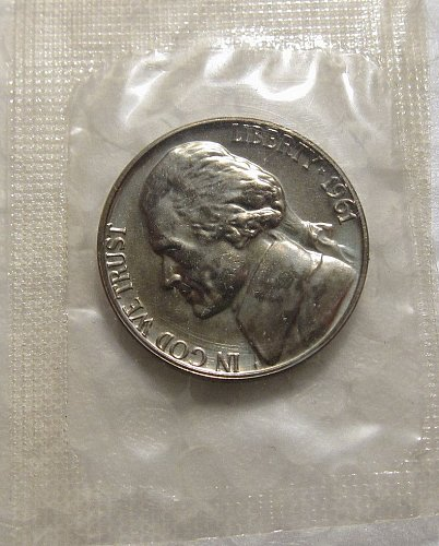 "1961 P ""PROOF"" JEFFERSON NICKEL  STILL IN ORIGINAL MINT CELLO"