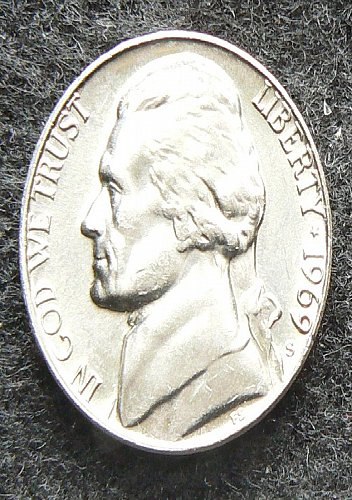 1969 S Jefferson Nickel