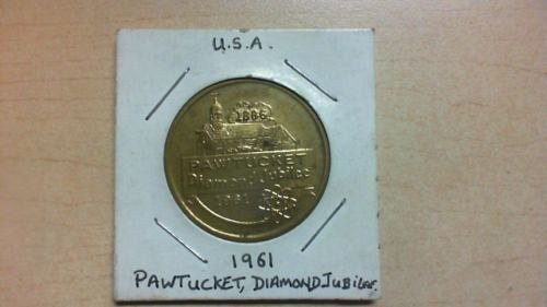 1961 pawtucket diamond jubilee token/medal