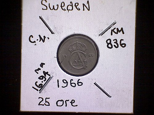 1966 SWEDEN TWENTY-FIVE ORE