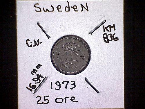 1973 SWEDEN TWENTY-FIVE ORE