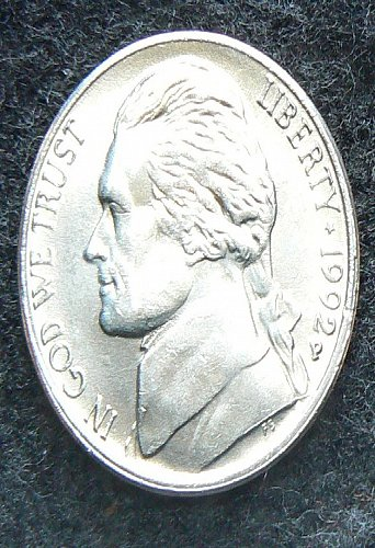 1992 P Jefferson Nickel