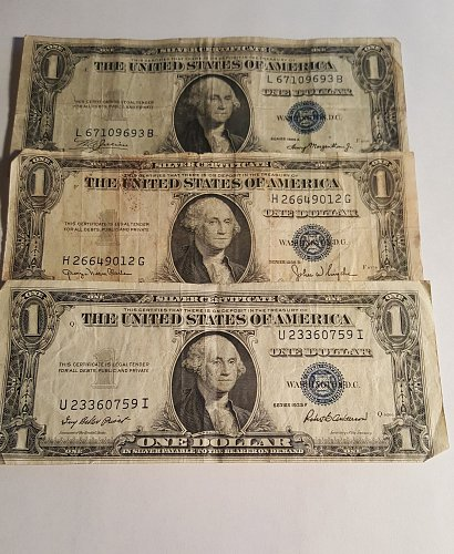1935 A,D, and F Silver Certificates lot of 3