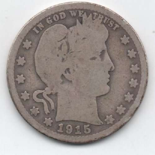 1915 BARBER SILVER QUARTER IN CIRCULATED CONDITION.