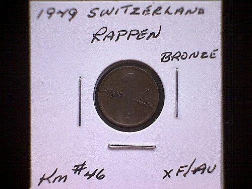 1949 SWITZERLAND ONE RAPPEN