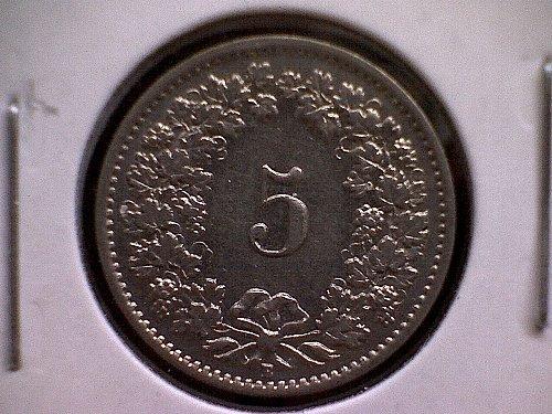 1932B SWITZERLAND FIVE RAPPEN