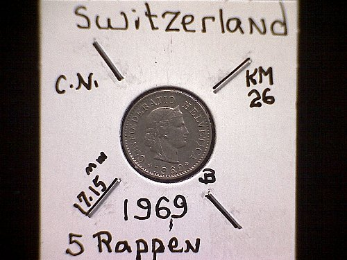 1969 SWITZERLAND FIVE RAPPEN