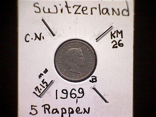 1969 SWITZERLAND FIVE RAPPEN