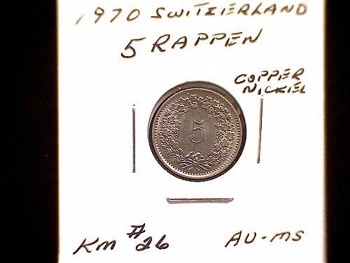 1970 SWITZERLAND FIVE RAPPEN