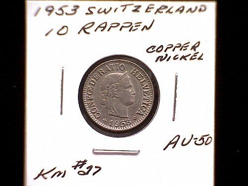 1953 SWITZERLAND TEN RAPPEN