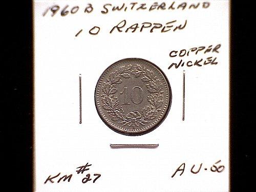 1960B SWITZERLAND TEN RAPPEN