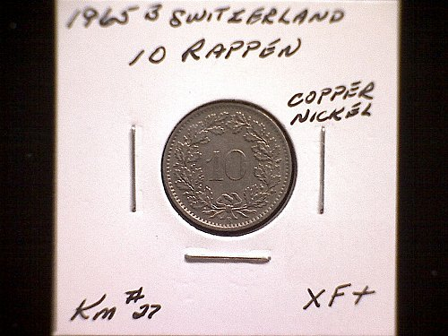 1965B SWITZERLAND TEN RAPPEN
