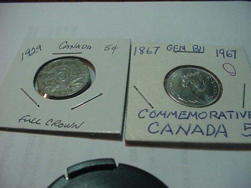 2-canada nickels 1967 (BU)1929 nice