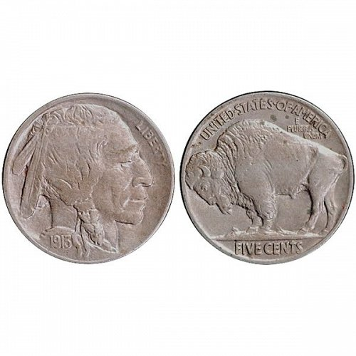 1913 P Buffalo Nickel Type 2 - AU