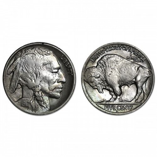 1917 D Buffalo Nickel - AU