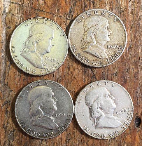 Lot of 4 Franklin Half Dollars (1948-49, 1951-52)