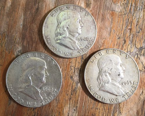 Lot of 3 Franklin Half Dollars (1960, 1962-63)