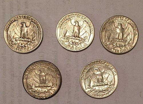Lot of 5 Washington Quarters 1960-1964 (90% silver)