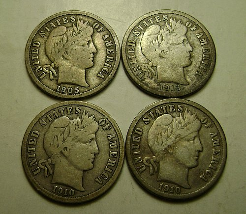 1905 1910 1910-D 1913 All Fine Full Liberty Barber Dimes Free Shipping