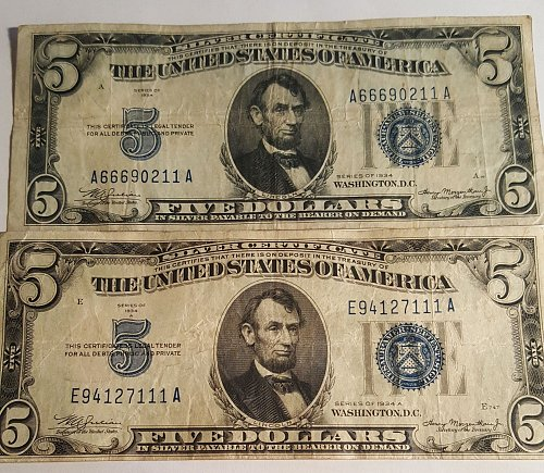 Lot of 2 $5 Silver Certificates 1934 and 1934A