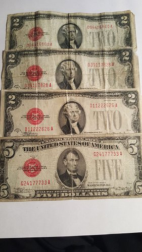 Lot of 1928 Red Seal $2 and $5 Bills