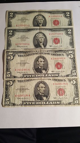 Lot of 1963 Red Seal $2 and $5 Bills