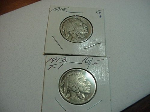 2-buffalo nickels 1913 type1(vg+) anf 1915(g)