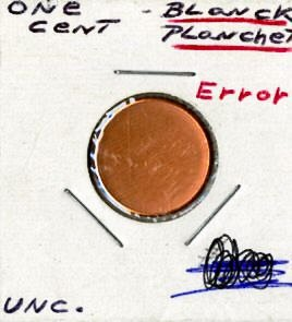 2.blank planchets 1ea. penny and dime error