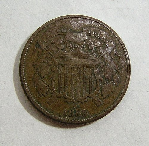 1865 Two Cent Piece - VF Condition