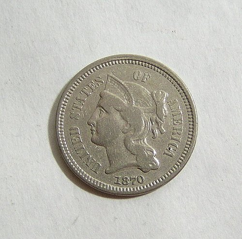 1870 Three Cent Nickel - VF Condition