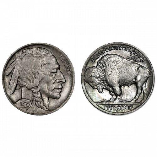1918 D Buffalo Nickel - AU