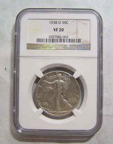 1938-D Walking Liberty Half Dollar - graded VF20 by NGC