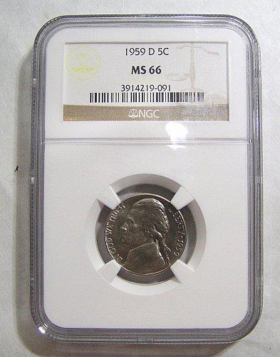 1959-D Jefferson Nickel - graded MS66 by NGC