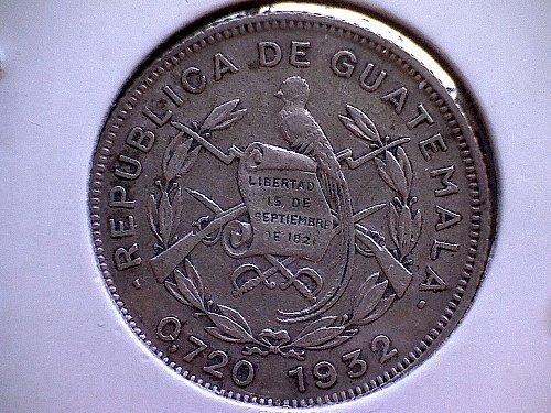 "1932L GUATEMALA TEN CENTAVOS   ""SILVER"""