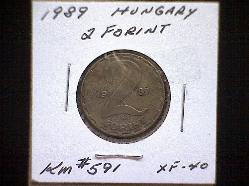 1989 HUNGARY TWO FORINT BRASS