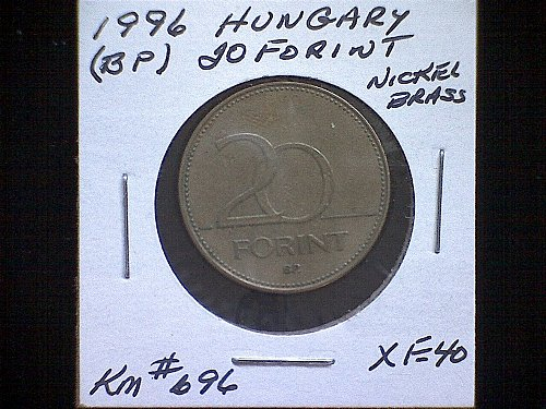 1996BP HUNGERY TWENTY FORINT NICKEL/BRASS