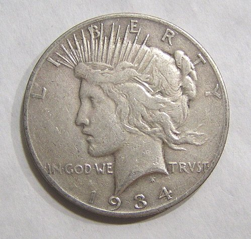 1934-S Peace Dollar - VF Condition