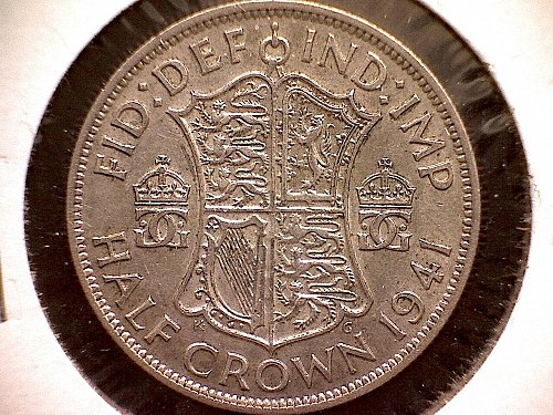 "1941 GREAT BRITAIN HALF CROWN KING GEORGE V1  ""SILVER"""